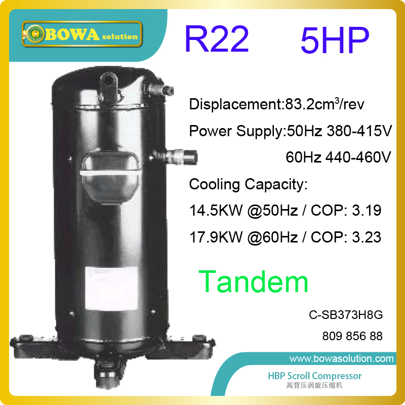 5HP R22 tandem scroll compressors provide possibility to combine variable cooling capacity parallel Compressor Racks large cooling capacity indepedent electronic expansion valves eev unit suitable for tandem compressor unit or compressor rack