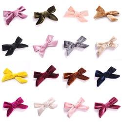 Mini Velvet Kids Bow Nylon Hair Clips Little Girls Sweet Candy Color Velvet Small Bow Knot Hairpins Hairgrips Hair Accessories