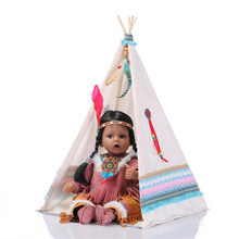 Huggable 20inch Reborn Baby Girl Doll Soft Silicone Native American Indian Doll with Play Tent Kids Christmas Birthday Gift(China)