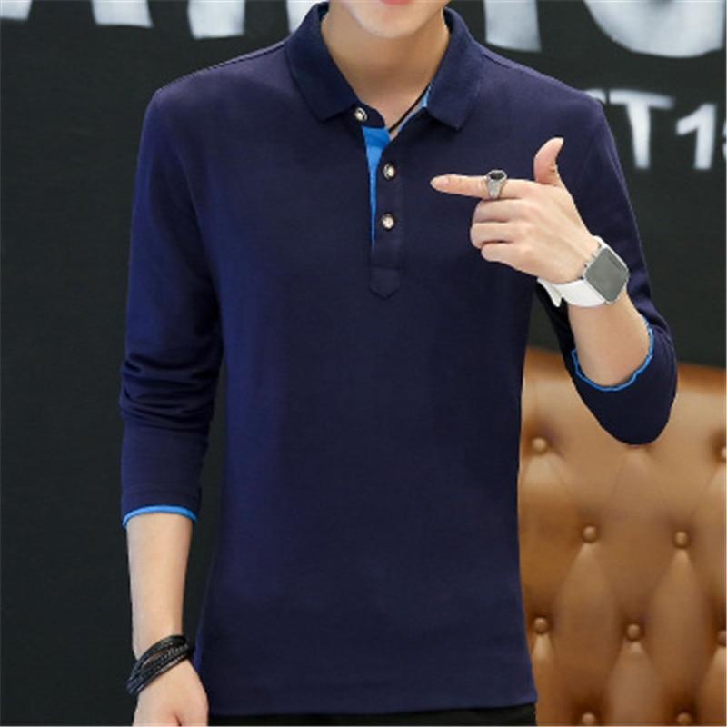 2018 New Fashion Men Polo Shirts Long sleeve Solid color Slim Fit Cotton Mens Polos Shirt M-3XL Male Clothing 3