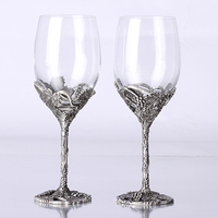 Quality gift fashion vintage crystal wedding wine glass hanap set tin gift wine cooler decoration