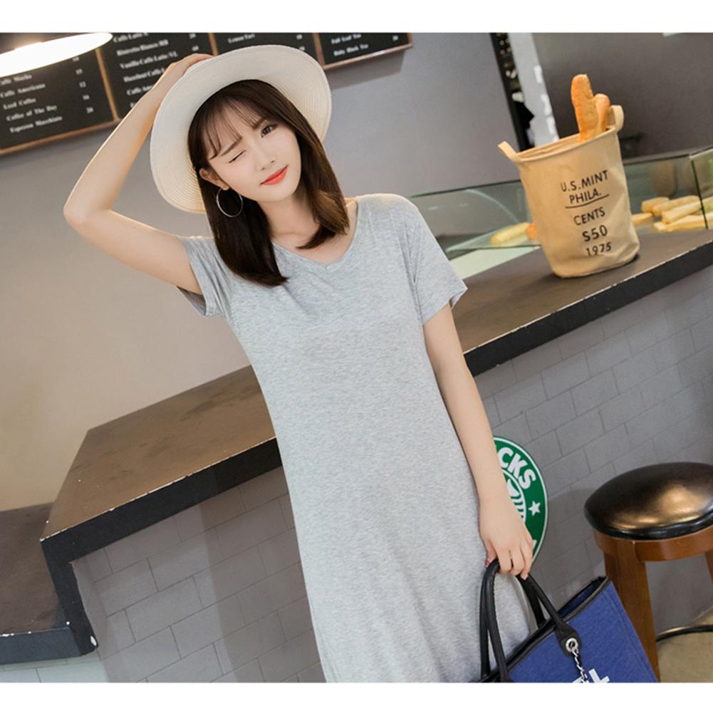 Yfashion Women Summer Simple Casual Solid Color V neck Short Sleeve Long Dress in Dresses from Women 39 s Clothing