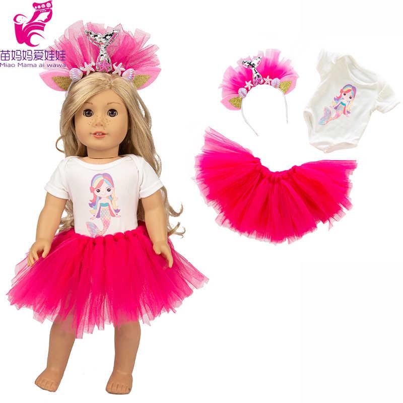 """18 """"دمية حورية البحر اللباس أغطية الرأس ل 43 cm مولود جديد ملابس دمى مجموعة ل 40 cm تولد من جديد دمية طفل dressgirl هدايا"""
