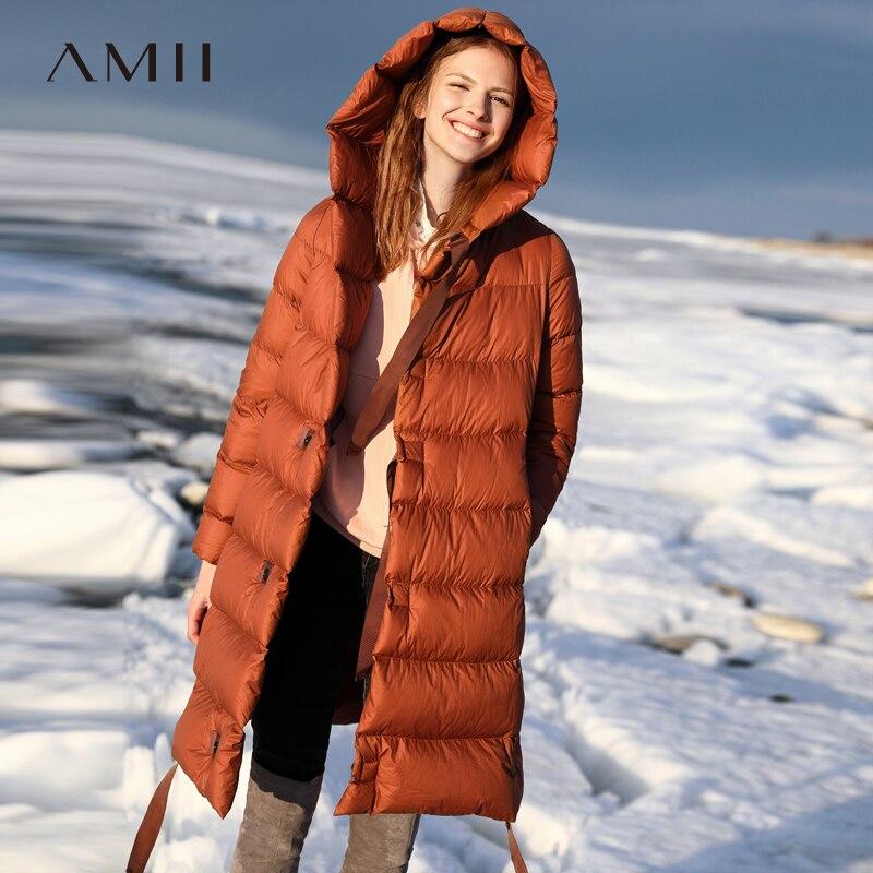 Amii Minimaliste Coréenne Mode 90% Blanc Duvet de Canard Manteau 2018 Hiver Nouveau Ruban Chic Lâche Chapeau Manteau