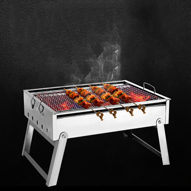 Hewolf Outdoor Camping Cold Rolled Plate Burn Oven Picnic BBQ Charcoal Grill Portable Folding Stove Home Barbecue Carbon Ovens hewolf portable size outdoor camping beach bbq barbecue grill rack household use lightweight folding picnic rack stand well sell
