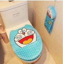 font b Doraemon b font Cartoon Soft Plush Blue Polka Dot Toilet Seat Cover Bathroom