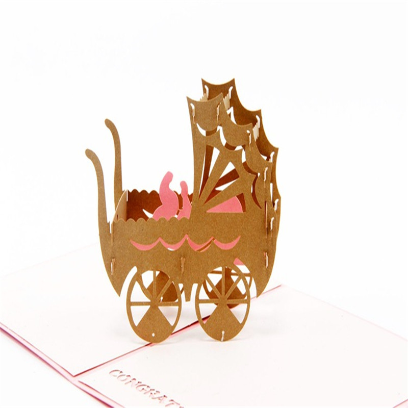 Baby Carriage Cards For Birthday Handmade Creative 3d Pop Up