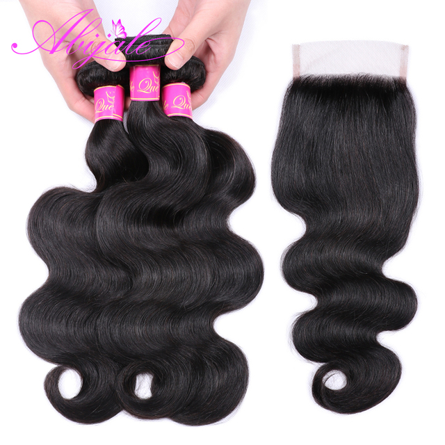 Abijale Body Wave Bundles With Closure Brazilian Hair Wave Bundles With Closure Human Hair Bundles With Closure Non-Remy