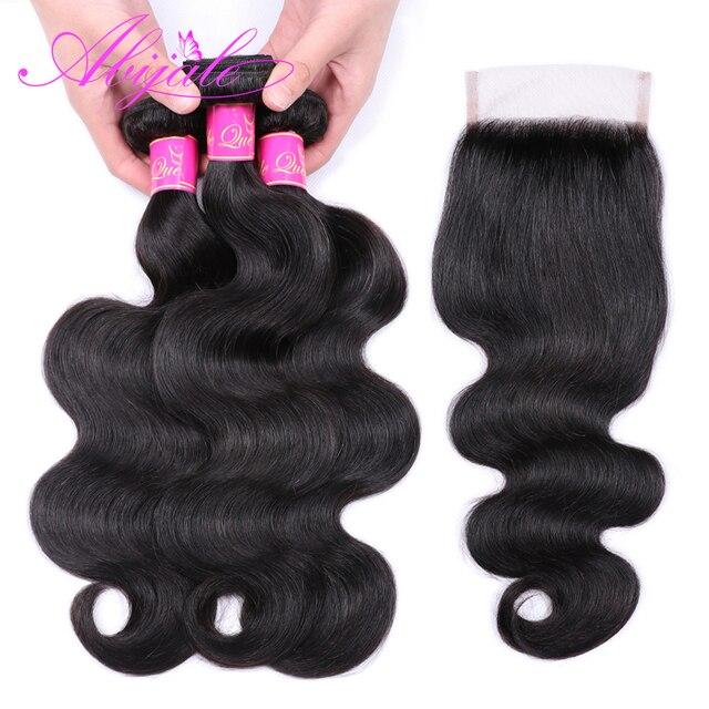 Paquetes de onda de cuerpo Abijale con cierre paquetes de onda de pelo brasileño con cierre paquetes de cabello humano con cierre no Remy