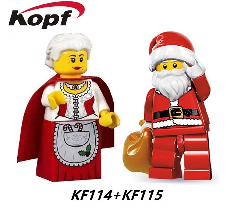 KF114 KF115 Building Blocks Star Wars figures Santa Clause And Wife Super Heroes Toys for children Bricks Christmas Gift building blocks super heroes back to the future doc brown and marty mcfly with skateboard wolverine toys for children gift kf197