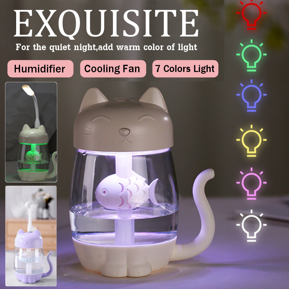 3 in 1 350ML USB Cat Air Humidifier Ultrasonic Cool-Mist Adorable Mini Humidifier With LED Light Mini USB Fan for Home office3 in 1 350ML USB Cat Air Humidifier Ultrasonic Cool-Mist Adorable Mini Humidifier With LED Light Mini USB Fan for Home office