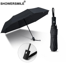 SHOWERSMILE Umbrella Automatic Folding Rain And Sun Umbrellas Windproof Foldable Men Black Striped Gentleman Parasol Paraguas