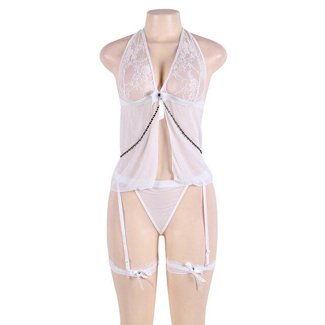 Sexy sous-vêtements femmes érotique ouvert rafale voir bien Babydoll grande taille dos nu col en V érotique Sexy robes vêtements sexuels R7356