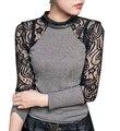 С . м .,L Xl, Xxl черный / серый новый 2016 женщин кружева водолазка вязаный свитер пуловеры топы