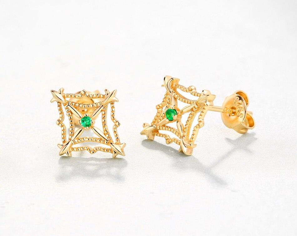 ALLNOEL 925 Sterling Silver Stud Earrings For Women Ethnic Genuine Gemstone Natural Emerald Gold 9k Lacey Earrings Fine Jewelry (2)