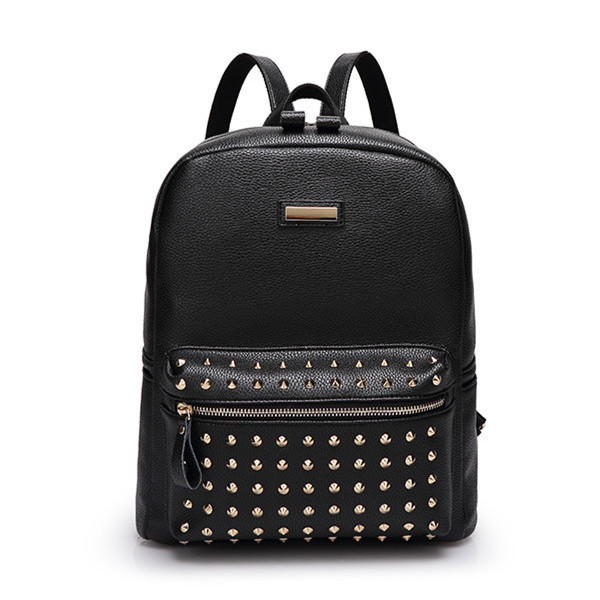 Rivet Women Backpack European American Style Travel Backpack Women 2016 New Fashion Leather Backpack Free Shipping