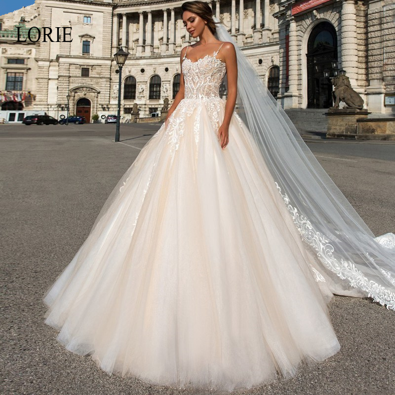 LORIE Ball Gown Wedding Dress Appliques Lace With Tulle Bride Dresses Backless Spaghetti Straps Court Train Vestido De Noiva