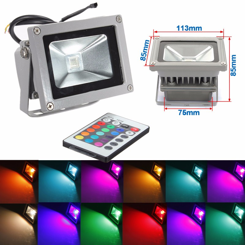 Smuxi 10W RGB LED  Flood Light Colorful Changing Wash Wall Mount Spot Light 900LM Remote Control Waterprof Beam Angle 120 Degree|Floodlights| |  - title=