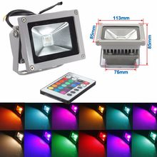 Smuxi 10W RGB LED Flood Light Colorful Changing Wash Wall Mount Spot Light 900LM Remote Control Waterprof Beam Angle 120 Degree(China)
