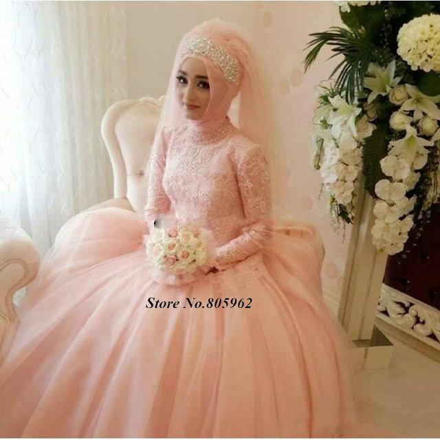 46661f00eb0 vestido de noiva Pink Muslim Wedding Dresses Arabic Light Peach Bridal Gowns  High Neck Long Sleeve Stunning Bride Dresses