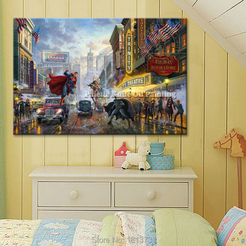 Thomas Kinkade Oil Paintings Superman Giclee Canvas Wall Picture Art ...