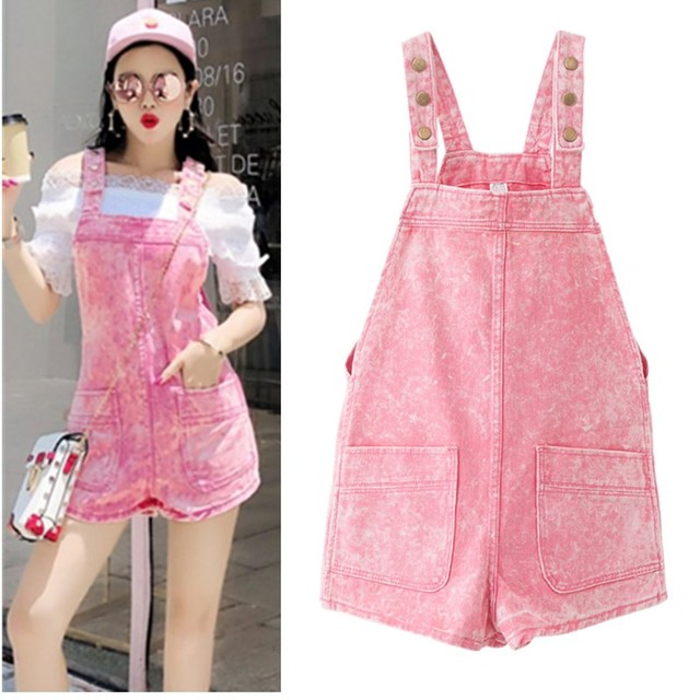 930ba61c0ba Lolita Style Women Summer Pink Jumpsuit Denim Overalls Rompers Young Girls  Pants Cute Fresh Lovely Candy Color Jumpsuits NS575