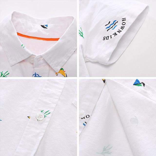 Boys' Cotton Shirt with Turn-Down Collar