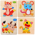Hot Sale Anmial Model Puzzle Fox Beetle Leopard Sika Cow Children Toys Educational Animal Montessori Wooden Jigsaw Puzzles Toys