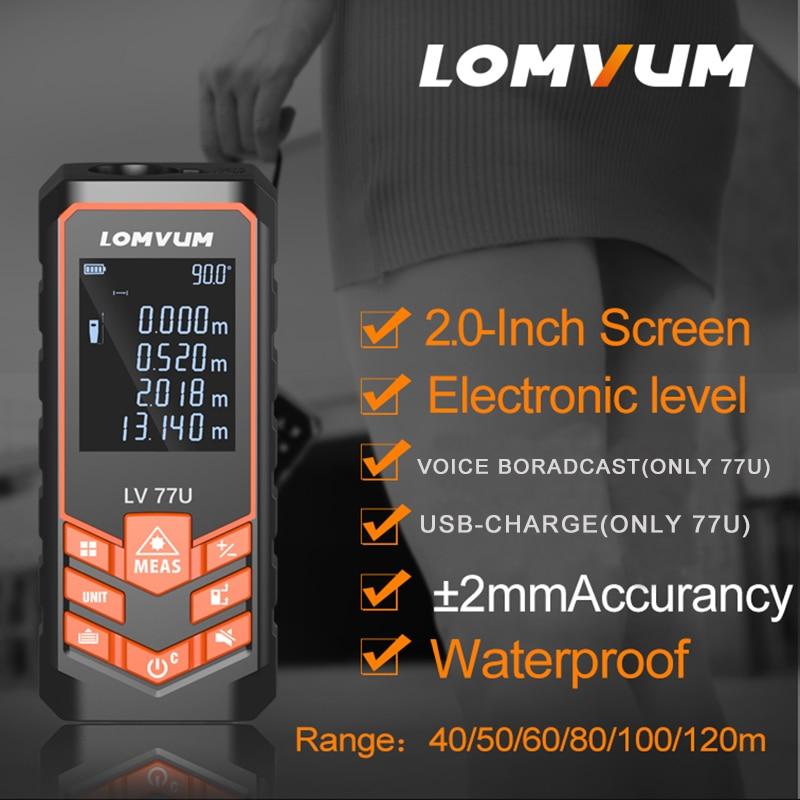 LOMVUM Laser Range Finder Auto Level Distance Meter Electronic Analysis Measuring Instrument USB Rechargeable Rangefinder40-120M