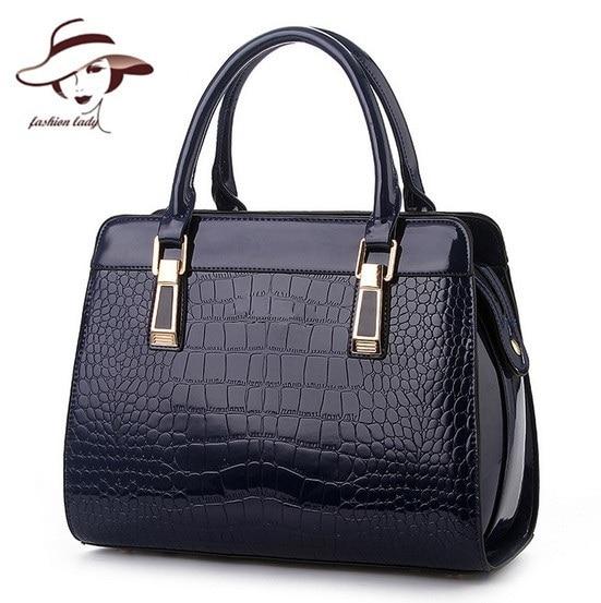 цены  2017 Fashion Patent PU Leather Handbags Socialite Crocodile Grain Women Messenger Bags Fashion Women Shoulder Bags Women Bag