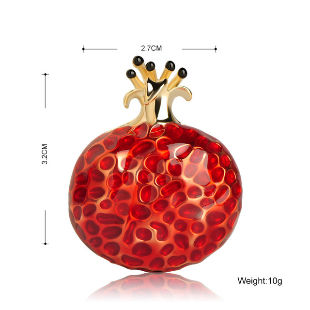Blucome Enamel Fruit Shape Red Pomegranate Brooch Cute Gift Accessories Suit Lapel Pin Men Women's Clothing Badges Scarf Buckles