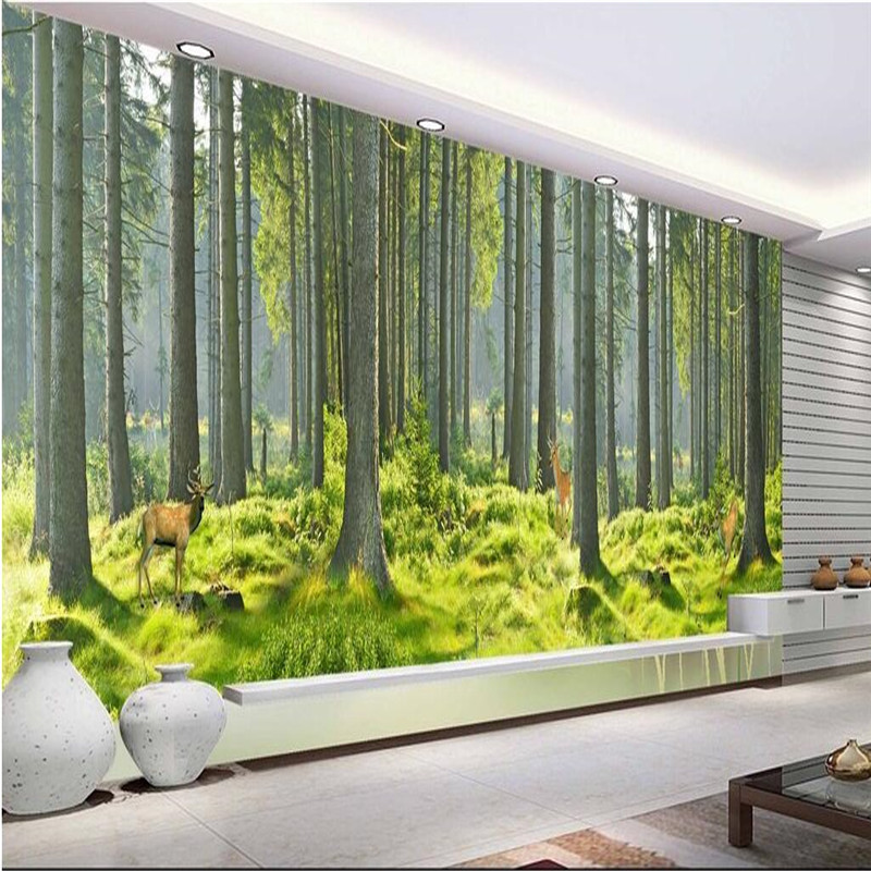 Pine trees forest trees welcoming living room tv sofa for Tree wallpaper living room