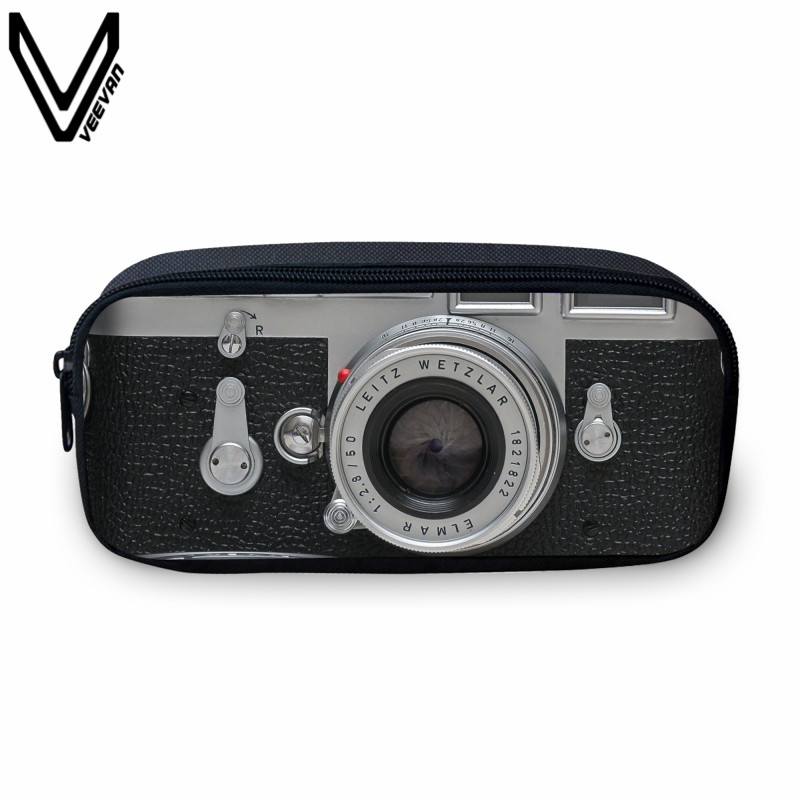 VEEVANV 2017 Retro 3D Printing Camera Bags Case Casual Pu Make Up Box Students Study Box School Case For Children Small Wallet