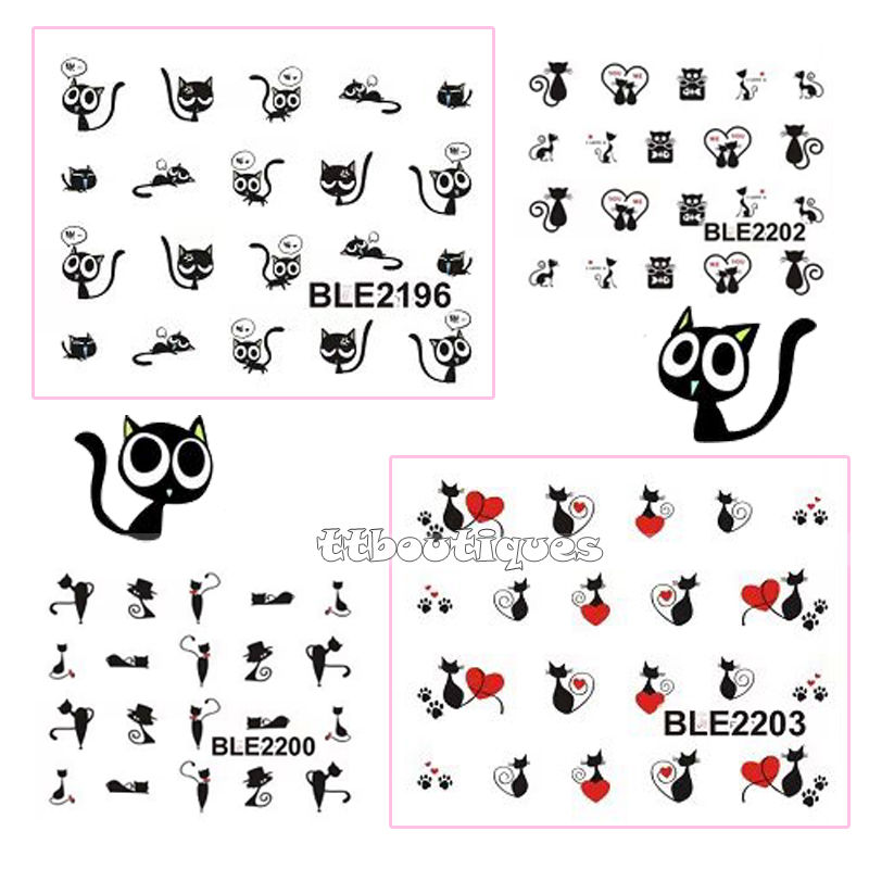 1 Lot = 11 Sheets Large Water Transfer Cat Kitten Kitty Black Qute Nail Art Stickers Decors Tip BLE2193-2203 large 24x24 cm simulation white cat with yellow head cat model lifelike big head squatting cat model decoration t187