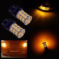PA LED 1Pair x 3157 3156 ORANGE AMBER 55SMD LED Turn Signal Blinker Corner Light Bulbs 12V