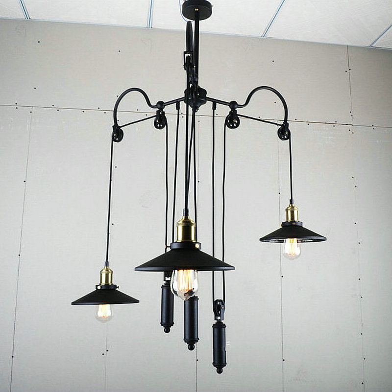 Industrial Pulley Light Fixture: Unique Design Retro Loft Industrial Pulley Pendant Lamp