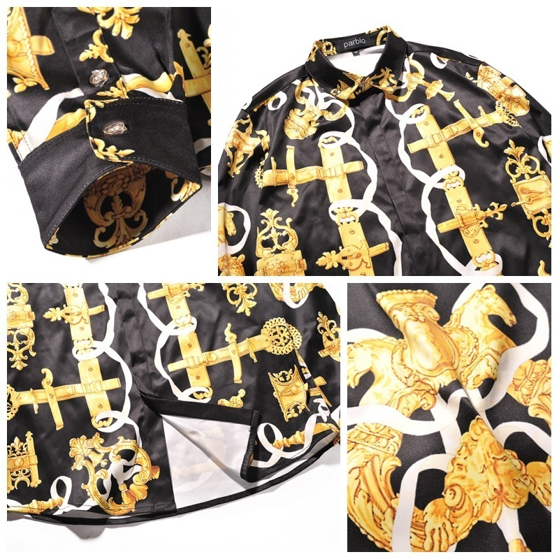 Gold Black Print Luxury Baroaque Party Shirt Men Prom Shirt Chemise Homme Men Stage Wear Vestido Social Camice Uomo Long Sleeves