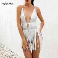 Joyfunear 2017 Backless Bodysuit Women Bodycon Jumpsuit Romper Sexy Tassel Body Feminino Elegant Beachwear Macacao Feminino
