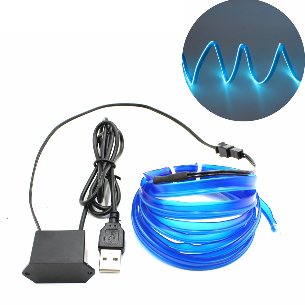 1/2/3/5/10M USB DC 5V EL Wire With 6mm Sewing Edge Neon Light LED Lamp Flexible Twinkle Glow Rope Tube LED Strip Car Decoration