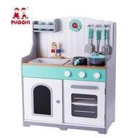 Деревянный Дети Кухня детей притворяться набор для приготовления пищи малыша игрушечная плита с аксессуарами PHOOHI