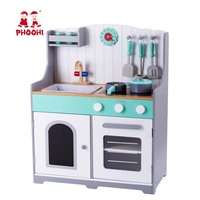 Wooden Kids Kitchen Children Pretend Cooking Play Set Toddler Stove Toy With Accessories PHOOHI