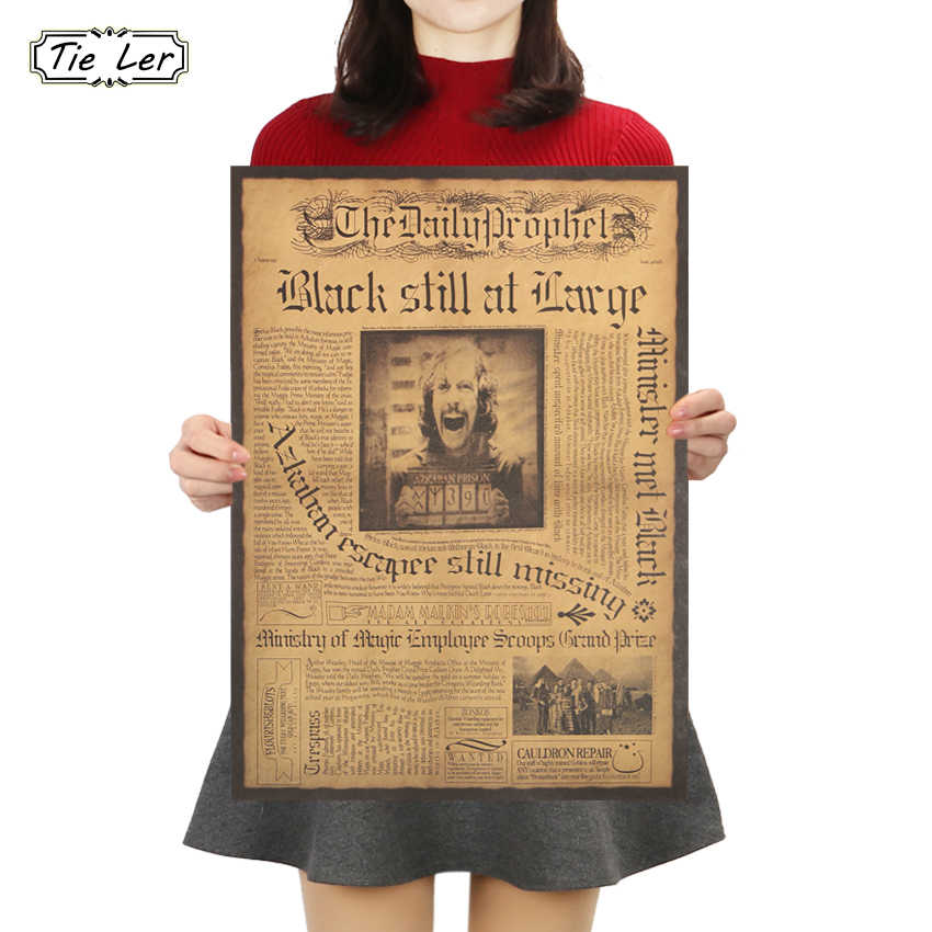TIE LER Classic Movie Daily Prophet Kraft Paper Poster Sirius Orion Black Wall Sticker Decorative Painting 42X30cm