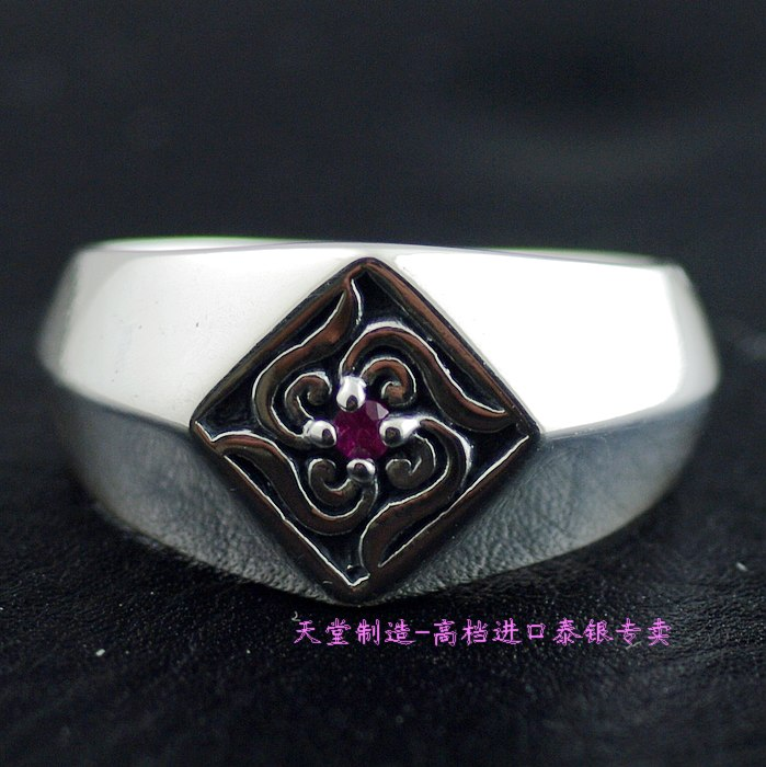 Thailand imports, 925 silver grass square Tang seal ringThailand imports, 925 silver grass square Tang seal ring