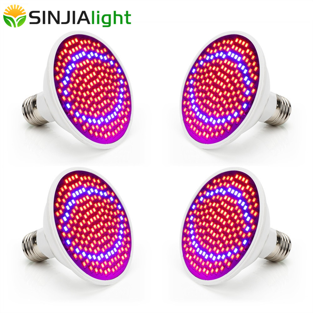4pcs/lot 20W LED Grow Lights 200LEDs Plant Growing Lamp Bulbs For Flowers Hydroponics Gardening Indoor Plants Lighting Grow Box