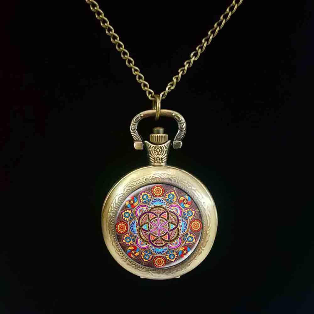 New Steampunk mandala pocket watch chakra pocket watch OM jewelry for women glass cabochon pocket watch Zen gifts jewellery