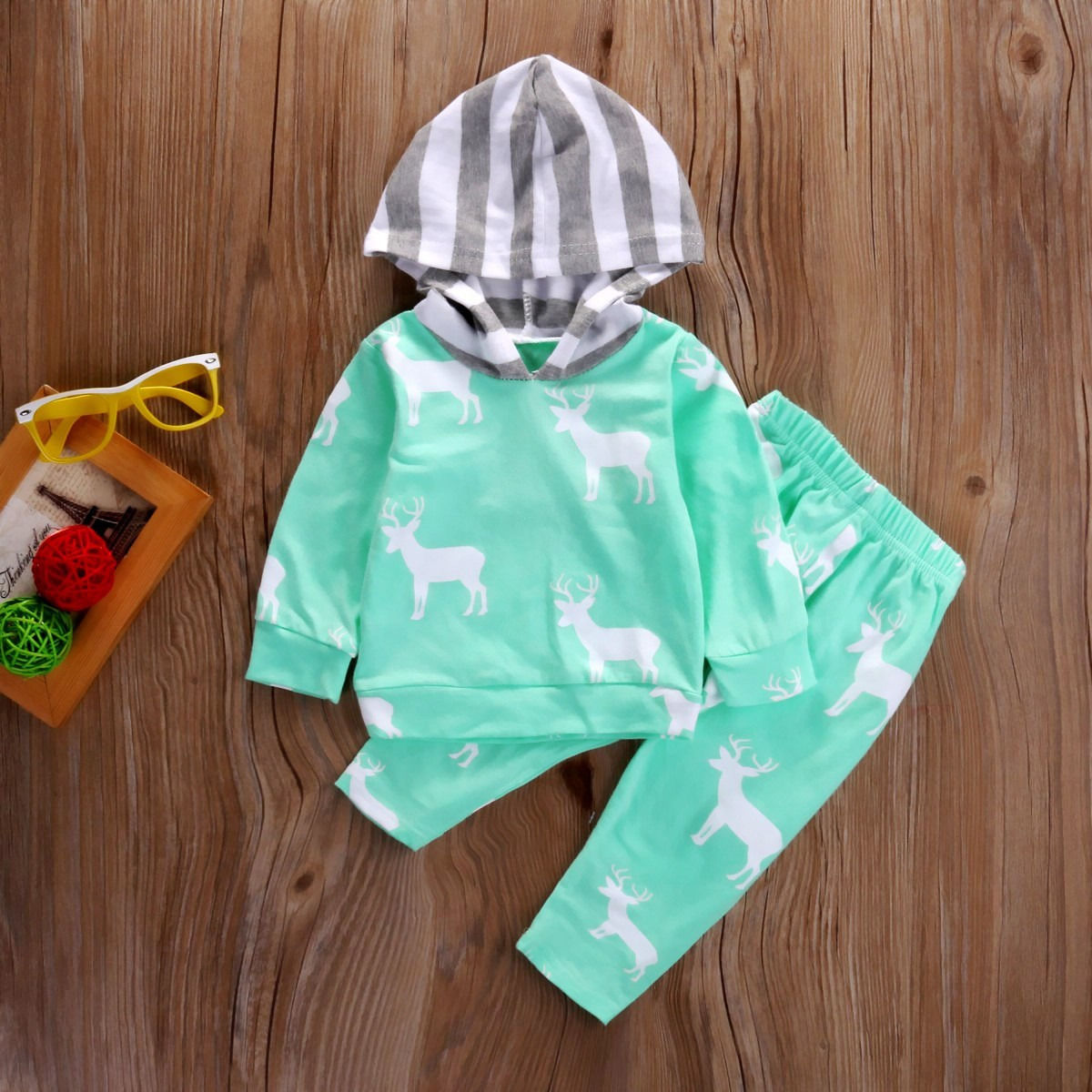 Autumn Casual Newborn Baby Boy Girl Deer Hooded Tops Coat and Pants 2PCS Outfits Set Clothes Blue 0-24M