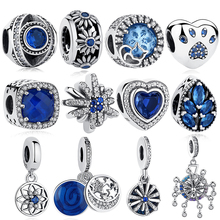925 Sterling Silver Bead Blue Pet Paw Heart Ferris wheel Lucky Eye Snowflake Square Charm Fit Pandora Charm Bracelet DIY Jewelry цены