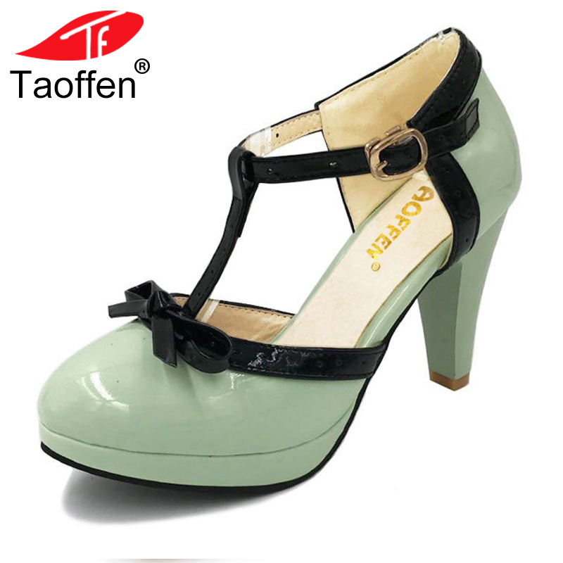 TAOFFEN Size 32-48 Women High Heel Sandals Round Toe Heels Shoes Women's Platform Sandals Black bow Wedding Party Lady Footwears цена 2017