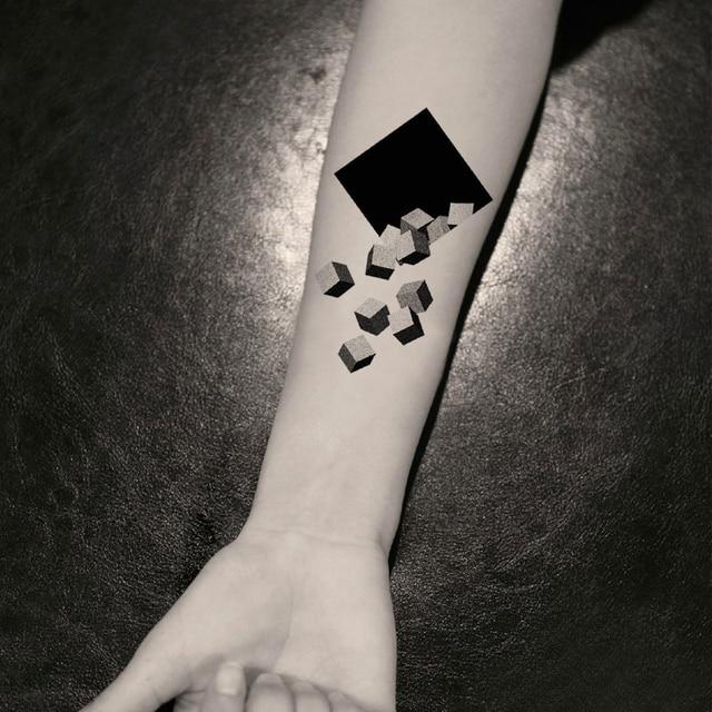 6690913fa0e98 3D Brick Temporary Tattoo Sticker Waterproof Men Women Shoulder Arm Body  Art Fake Tattoos 10.5X6cm