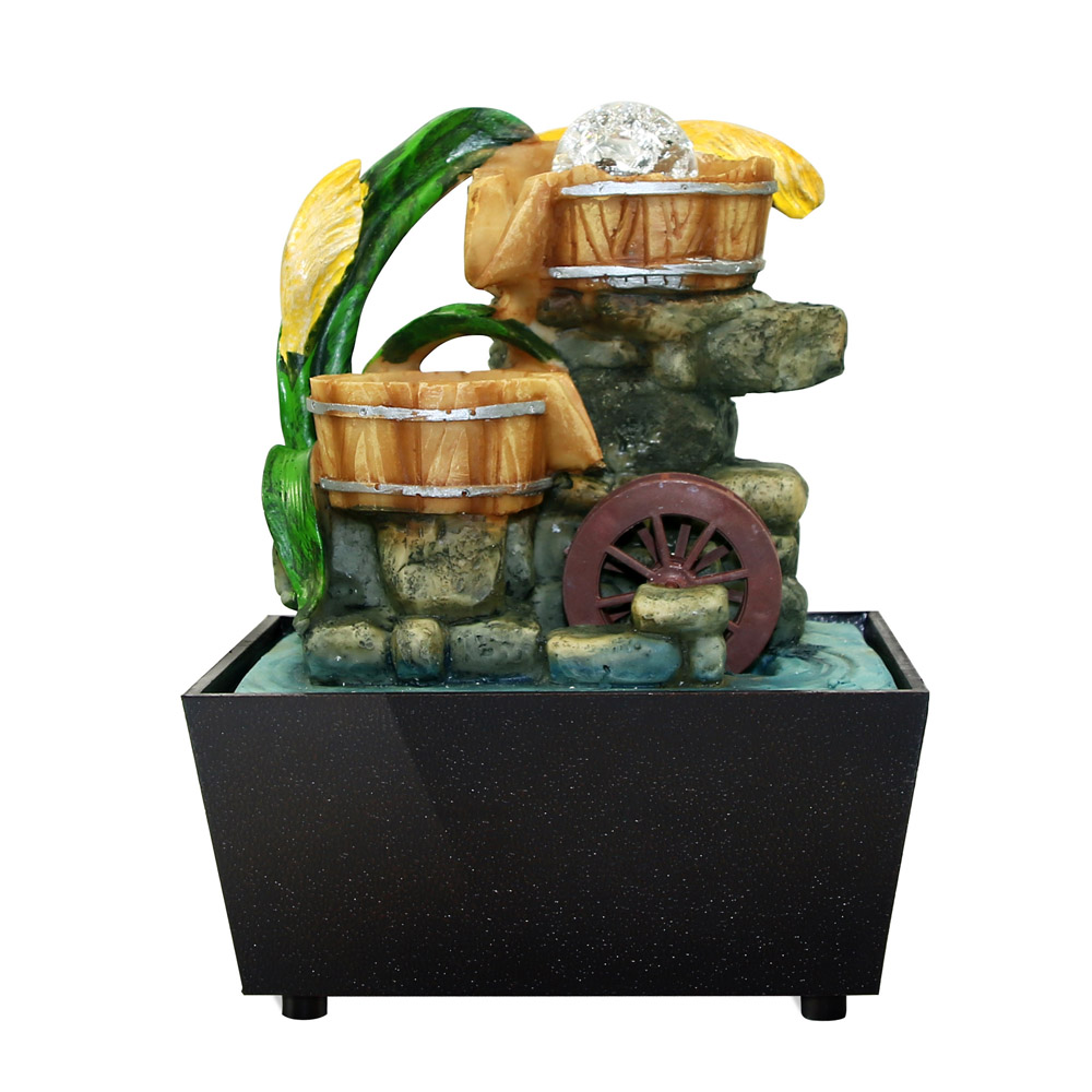 Desktop Water Fountain Spout FENGSHUI Zen Garden With Rotary Ball Home Accent Tabletop Fountain Waterfall Natural Home Decor
